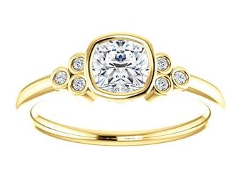 Moissanite Antique Square Cut, Diamonds, 14K Gold Ring, Modern Engagement, White, Yellow, or Rose Gold, 18K, Platinum