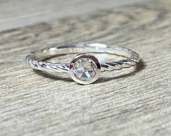 Rose Cut Moissanite Ring, Size 7, Dainty, Forever One, Promise Ring, Stacking Ring, Low Profile, Slim Rope Band, Ready to Ship