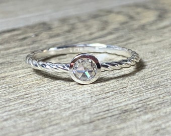 Rose Cut Moissanite Ring, Dainty Moissanite Promise Ring, Stacking Ring, Low Profile, Forever One Moissanite, Slim Band