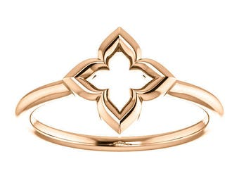 "LIMITED Edition Clover Promise Ring, ""Hope, Faith, Love, and Luck"", Gifts for Her, 14k Rose, Yellow Gold"