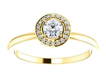"Moissanite Diamond Halo 14K Gold Ring, 14K White, Yellow, Rose Gold, Stackable, ""Forever One"""