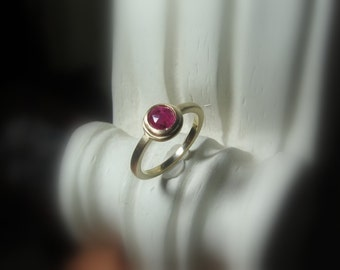 Red Rose Cut Sapphire Ring, Size 6.5, 14K Gold Non Traditional Engagement, Brushed Matte finish, Made to Order