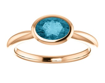 Oval London Blue Topaz 14K Rose Gold Ring, Oval Bezel Ring, Birthstone Ring, MiShelli, Low Profile