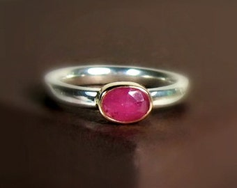 Rose Cut Pink Sapphire Wide Band Size 6.5, Sterling 14K Gold Bezel Ring, Natural Gemstone, Mixed Metal
