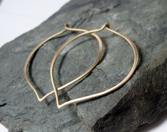 14K Gold Large Hoop Earrings, lotus ear wires, Made to Order