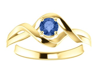 Ceylon Blue Sapphire 14K Gold Solitaire Ring, Sapphire Engagement, Non Traditional Engagement, Birthstone Ring