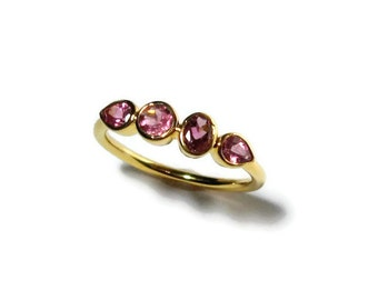 Pink Tourmaline 4 Stone Ring, 14K Gold Bezel, Low Profile, Made to Order