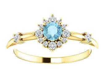 Aquamarine Diamond Halo Ring, 14k Gold, March Birthstone, Aquamarine Rings