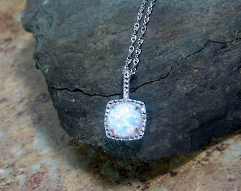 Opal Gemstone Diamond Pendant Sterling Silver Necklace - Ready to Ship