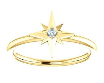 Diamond Star Stacking Ring, April Birthstone, Promise Ring, 14K Gold,Petite, Minimalist, Low Profile