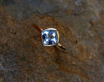 Aquamarine Cushion 14K Yellow Gold, Made to Order, low profile, non traditional, engagement ring