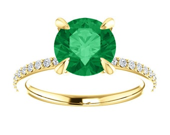 Chatham Emerald Solitaire Diamond Classic Engagement Ring, 14K Rose, Yellow, White Gold