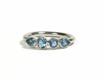 Aquamarine Sterling Silver Ring, Size 6.25, Multi Stone Ring, March Birthstone, Ready to Ship