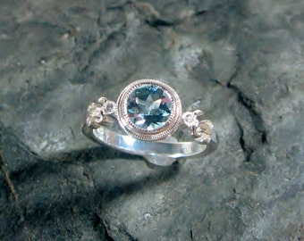 Aquamarine Ring, Side Diamonds, Sterling Silver, Miligrain Bezel, Size 7, March Birthstone, Ready to Ship