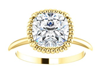 "Moissanite 8mm Antique Square Solitaire Ring, 14K Gold, ""Forever One"""