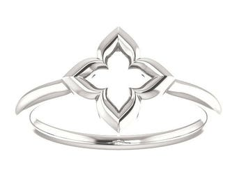 """25% OFF Sterling Clover Ring, """"Hope, Faith, Love, and Luck"""", Promise Ring, Friendship Ring"""