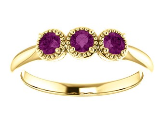 Unique Purple Diamond Ring, 14K Gold 3 Stone Stacking Band, Non Traditional Wedding