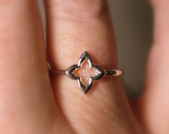 "14k Gold Clover Ring, ""Hope, Faith, Love, and Luck"", Gifts for Her, 14k White, Rose, Yellow Gold"