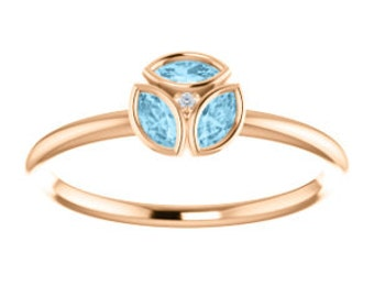 Aquamarine Marquise Diamond 14k GoldRing, Slim Band, Rose, White, or Yellow Gold, March Birthstone