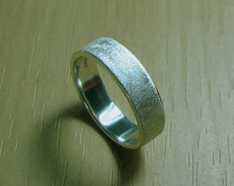 Wedding Band, Textured Sterling, Size 6.25, Engraved, 5mm, Sterling Silver, Ready to Ship
