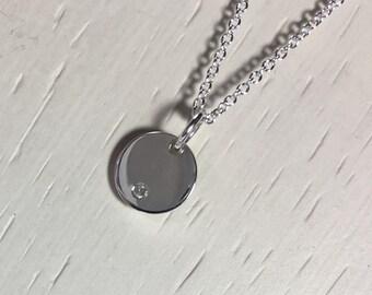 Dainty Diamond Disc Necklace, April Birthstone, Flush Set Diamond