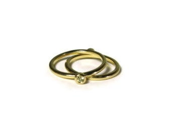 Yellow Diamond Engagement Ring Set, Stackable, 18K Gold, Made to Order, Blue, Cognac, Chocolate, Yellow, and White