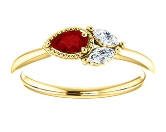 Ruby Sapphire 14K Gold Ring, Ruby Pear, White Sapphire Marquise Cluster Ring, Non Traditional