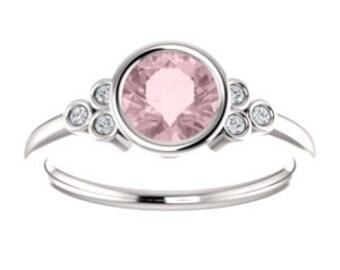 Pink Morganite Diamond Ring, 14K, 18K, or Platinum