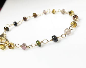 Tourmaline Bracelet, Gold Wire Wrapped Gemstones, Gifts for Her