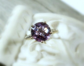 Amethyst Sterling Silver, Rope Band, February Birthstone, Solitaire, Cocktail Ring, Prong, Made to Order, Bella Collection