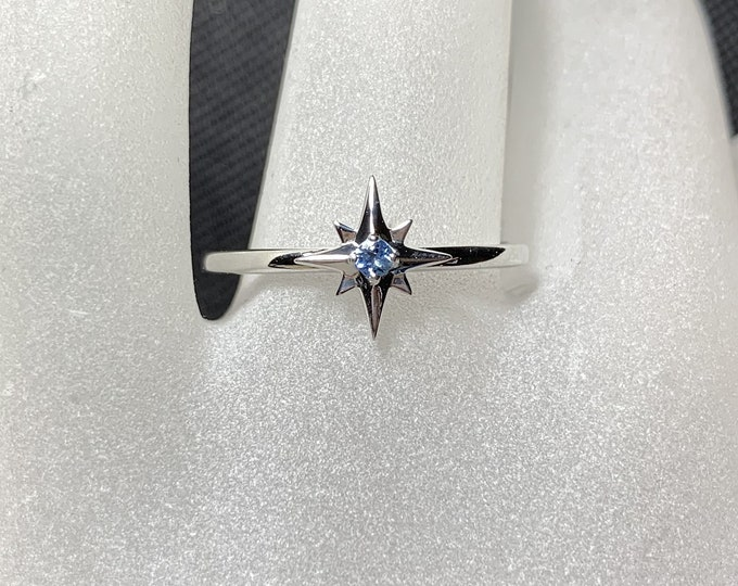 Featured listing image: 14K Gold Star Ring, Aquamarine Birthstone, March Birthday, 14K White, Yellow, Rose Gold