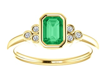 Emerald Diamond 14K Gold Ring, Chatham Emerald , VS Diamonds, Yellow, White, or Rose Gold