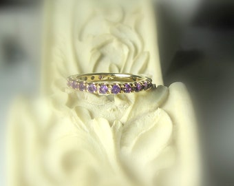 CUSTOM Eternity Band, 14K Gold Anniversary Band, Stacking Ring, Tanzanite, Zircon, Moissanite, Ruby, Emerald