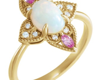 Opal Sapphire Diamond 14K Gold Ring, Ethiopian Opal, Pink Sapphire, White, Yellow, Rose Gold