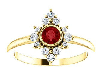 Ruby Diamond Cluster Ring, 14K Gold
