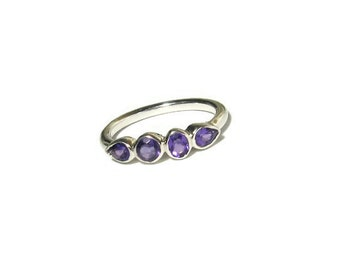 Amethyst Gemstone Band, Sterling Silver, 4 stone ring, bezel, birthstone, Made to Order