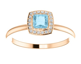 Aquamarine Diamond Halo 14K Gold Ring, Birthstone Ring, March, Stackable Engagement