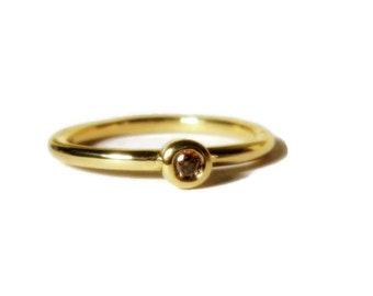 Cognac Diamond, 14K Gold Engagement, Stackable, minimalist, Made to Order, yellow, rose, or white gold