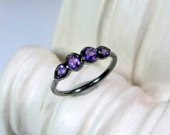 Amethyst Birthstone Ring, Sterling Silver, Oxidized, February Birthstone Band, Made to Order
