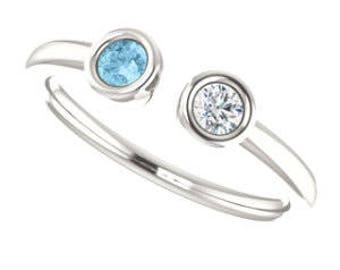 Dual Stone Ring Aquamarine Sapphire sterling silver