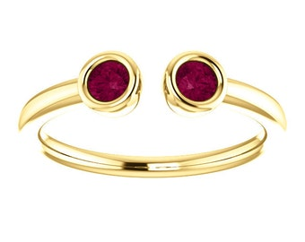 Garnet Dual Stone Ring, Sterling silver, 14K Gold, Stacking Ring, Birthstone Ring