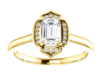 Emerald Cut Moissanite Diamond Halo Ring, 14K / 18K Gold, Non Traditional Engagement, Step Cut