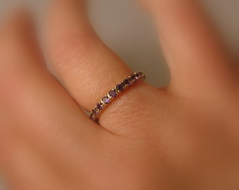 Birthstone Eternity Band, 14k Gold, Stackable, Amethyst, Aquamarine, Morganite, Customized Made to Order