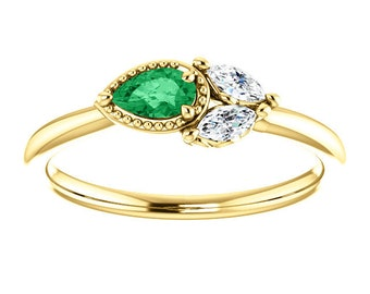 Emerald Pear Sapphire 14K Gold Ring, Marquise Sapphire, Side Swept Cluster Ring, Chatham Emerald