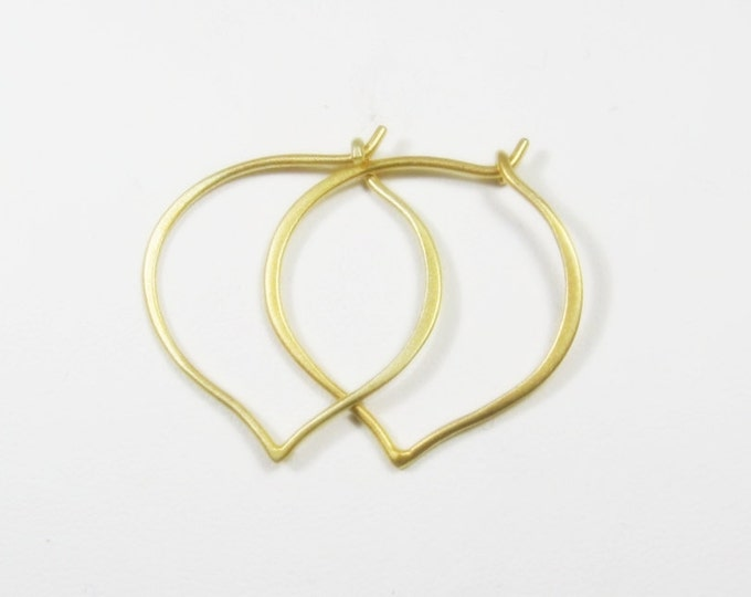 Featured listing image: Gold Hoops, Simple gold hoops,  Medium Earrings, hand forged, 24 gold vermeil, Classic everyday