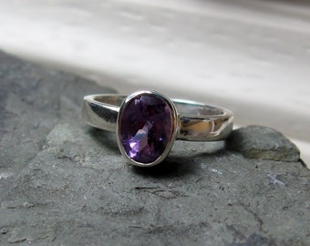 Oval Amethyst Ring, Sterling Ring, Size 4.75, Ready to Ship, Bezel Setting, Wide Band