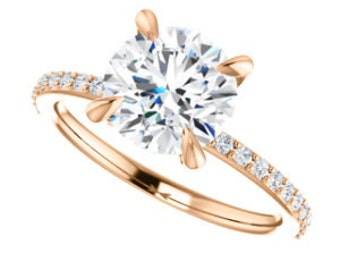 Forever One Moissanite Solitaire Diamond Classic Engagement Ring, 14K Rose, Yellow, White Gold
