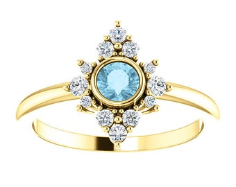 Aquamarine Diamond Cluster Ring, 14K Gold