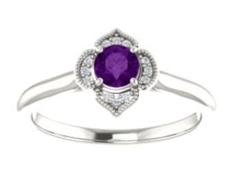 Amethyst Ring, Diamond Halo, Sterling Silver Vintage Style Ring