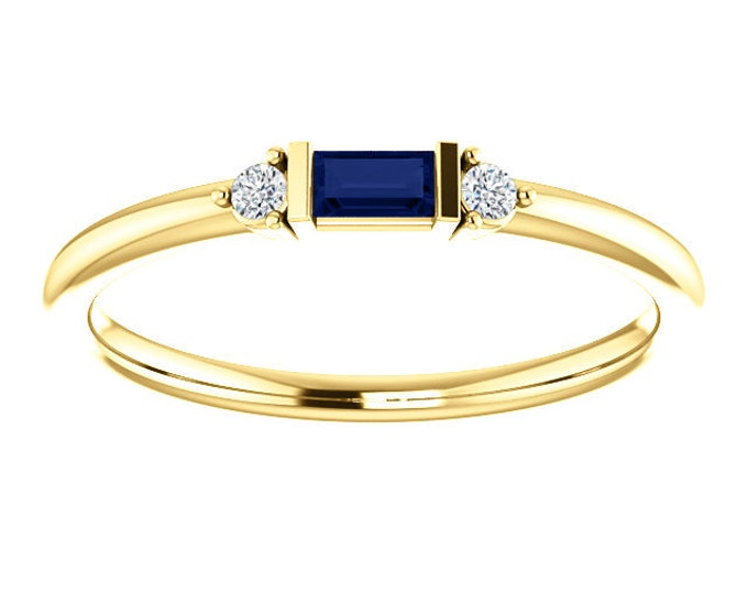 Featured listing image: Blue Sapphire Baguette Mini Stacking Ring, 14K Gold, Birthstone Band, Non Traditional Wedding Ring